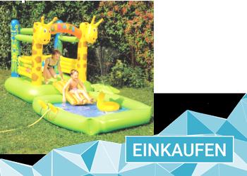 Spielware Happy People GmbH & Co.KG Hüpfburg+Pool Giraffe m.Sprühfunktion