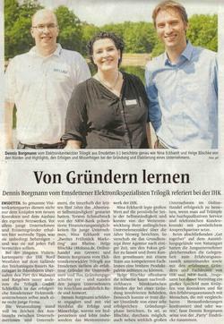 IHK - Von Gründern lernen - Emsdettener Volkszeitung 17.6.2016